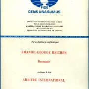 Reicher Emanuel - 1984 - Diploma Arbitru international