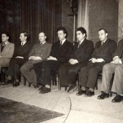 Opening ceremony. From left: (1), (2), (3), (4), Toluş, (6), Petrosian, (8), Şt. Szabo, Reicher